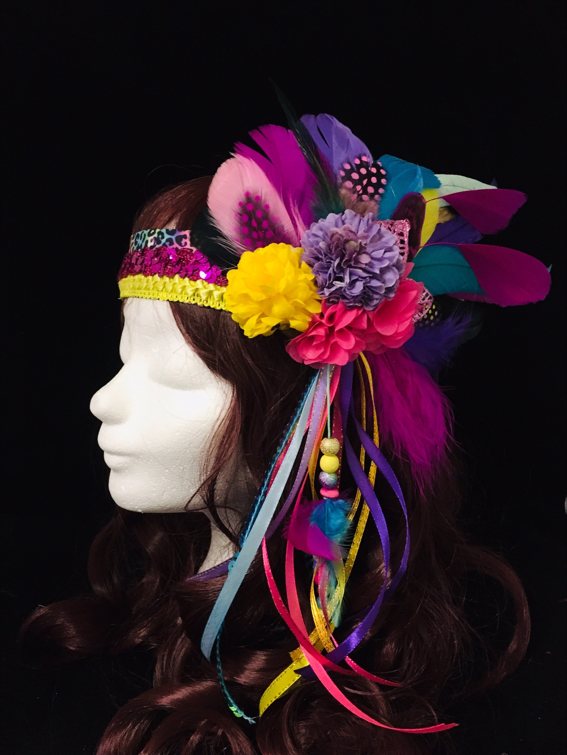 hoofdbad paars geel rainbow